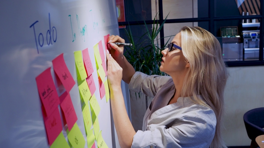 Project management and schedule planning, concept. A young woman takes notes and plans the structure of the project.   Shutterstock HD Video #1039720121