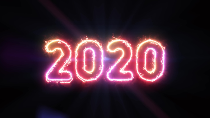 2020, colorful energy text glowing in the dark and lens flare light rays in background   Shutterstock HD Video #1039827071