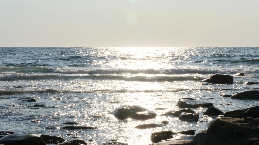 Slow motion of waves crashing on a rocky ocean coastline in Cape Breton Nova Scotia Canada | Shutterstock HD Video #1040042621