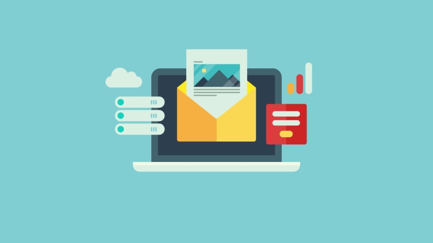 Email newsletter marketing, Opening email on laptop, Email delivery system - flat design 2d animation video clip | Shutterstock HD Video #1040246621