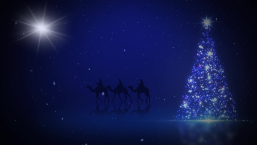 Three Wise Men Christmas Tree Sparkle 4K Loop features and particle sparkling Christmas tree on a blue surface with a silhouette of three wise men riding camels in the background and a star in the sky | Shutterstock HD Video #1040297531