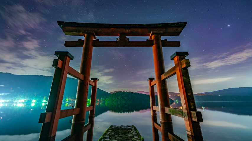 Timelapse of Milky Way galaxy over Shinto Torii Gate at Hakone Shrine by Ashinoko Lake in Japan | Shutterstock HD Video #1040635841