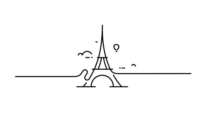Eiffel tower transmitter line drawing illustration animation with transparent background | Shutterstock HD Video #1040668841