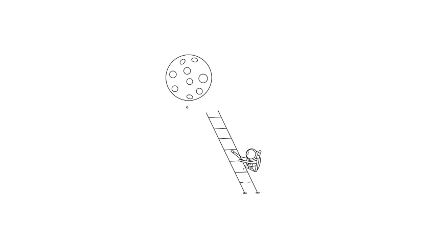 Astronaut climbs the stairs - Flat Line Animation Design Illustration. | Shutterstock HD Video #1040669861