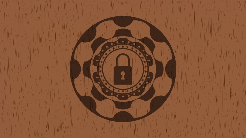 Closed lock icon inside wood emblem. Retro rotary tendency, conceptual pattern, premium animation | Shutterstock HD Video #1040691341