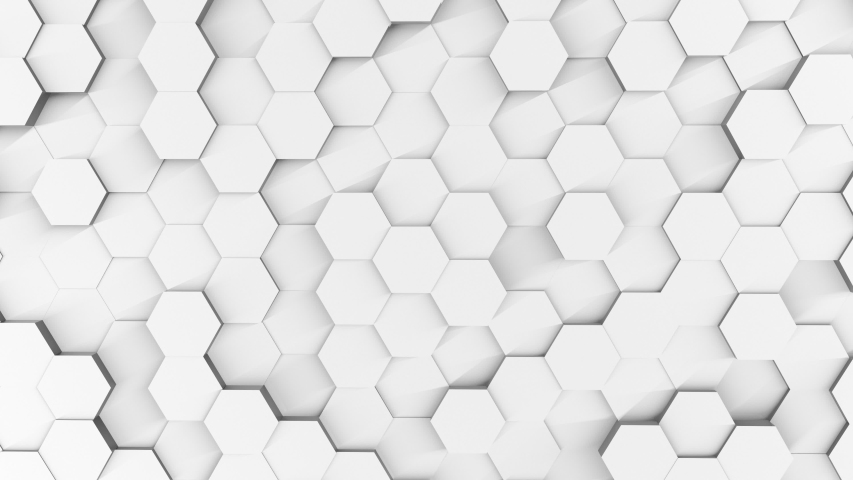 3D Futursitics rendering white abstract honeycomb random seed surface level background with lighting and shadow. High angle view. 4K footage video. Motion graphic design. Minimal and simple concept | Shutterstock HD Video #1040745041