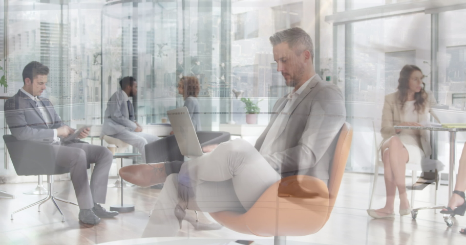 Animation of team of young male and female professionals in busy office in fast motion with commuter passing in the foreground 4k | Shutterstock HD Video #1040807351
