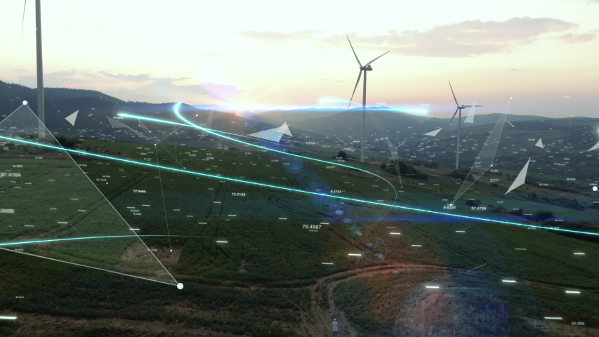Futuristic Technology Concept. Scientist with Tablet Sending Data to Global Digital Network over Ecology Safe Alternative Energy Source. Visualization Flowing Information. Aerial shot of wind turbines | Shutterstock HD Video #1040887091