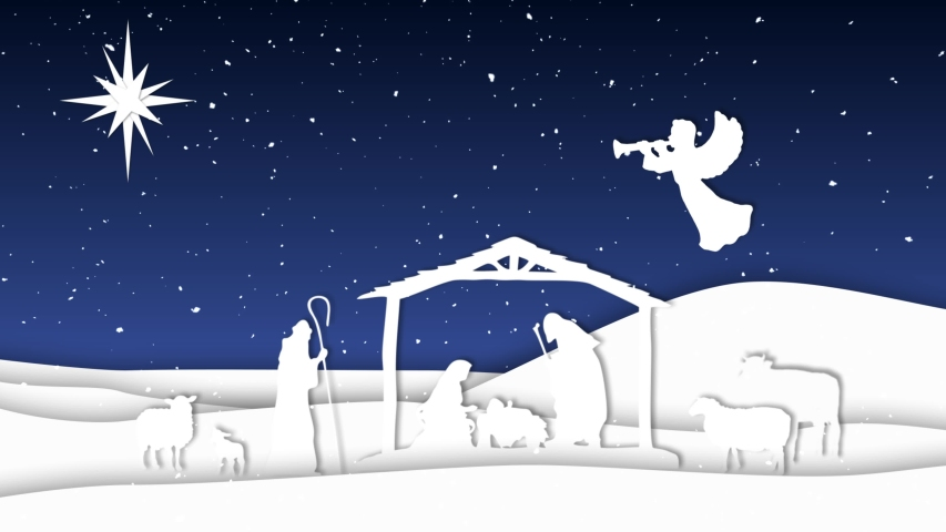 Nativity Paper Cut Outs Silhouettes 4K Loop features a nativity scene made from animated paper cut-outs with animals, manger, three wise men, angel and star against a blue sky with snowflakes in a loo | Shutterstock HD Video #1040946971