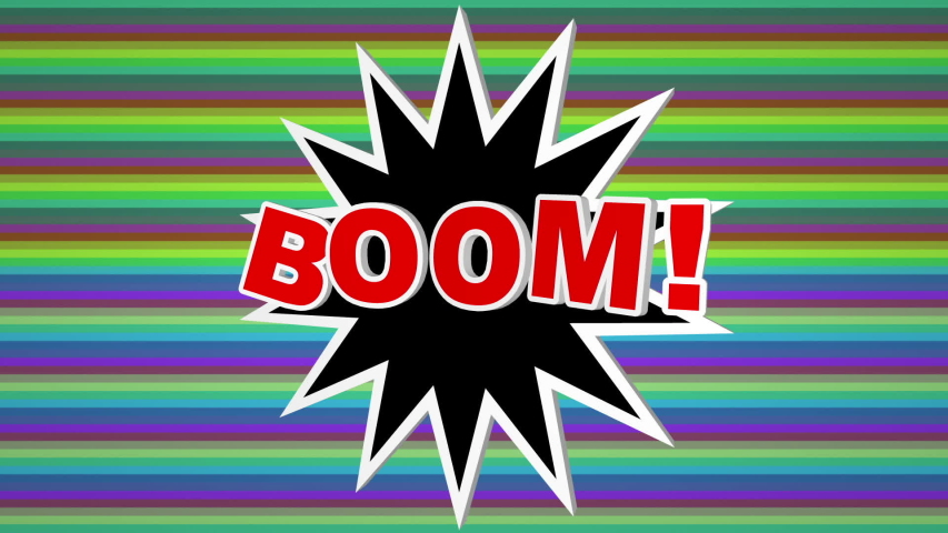 Boom comic pop art text against colorful background   Shutterstock HD Video #1041031661