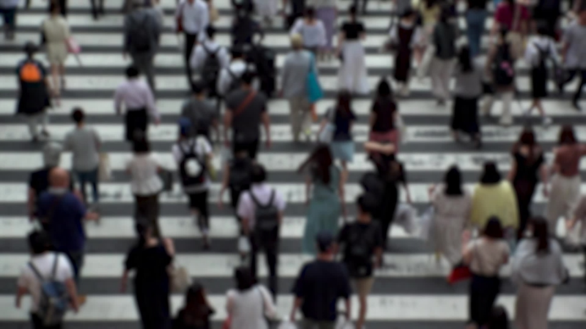 UMEDA, OSAKA, JAPAN - CIRCA SEPTEMBER 2019 : Aerial blurred high angle view of zebra crossing near Osaka train station. Crowd of people at the street. Shot in busy rush hour. Wide slow motion. | Shutterstock HD Video #1041098761