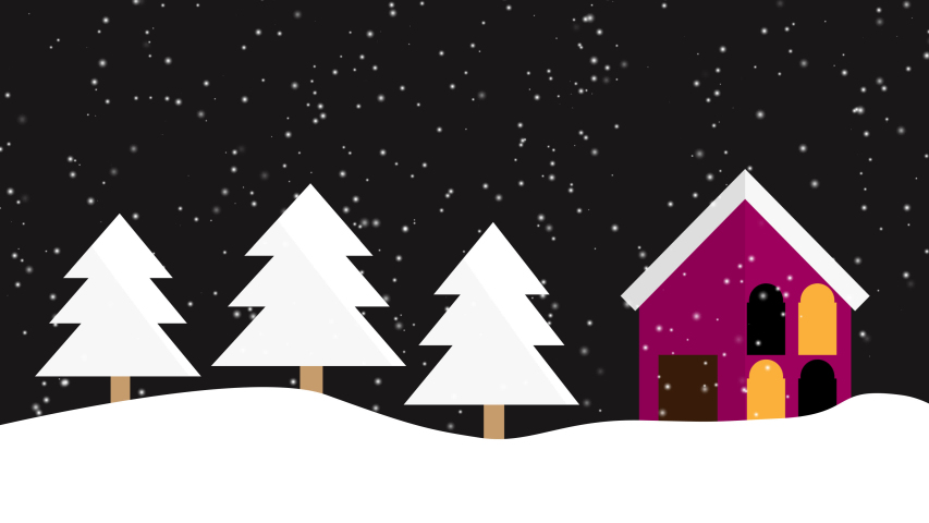 Animated Christmas tree and house with falling snowflakes on a black background and space for text, Christmas atmosphere at night, Christmas background concept | Shutterstock HD Video #1041103381