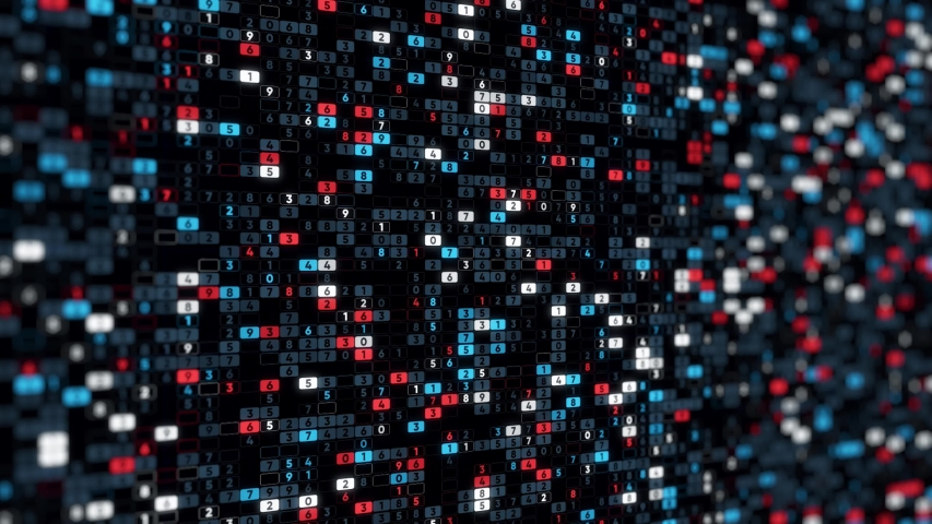 Abstract big data, digital code, futuristic informational technological computer generated display. Animation. Many changing numbers in digital cells. | Shutterstock HD Video #1041193471