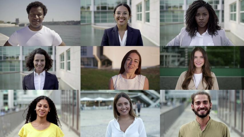 Front view of cheerful confident people posing. Multiscreen montage, split screen collage. Ethnicity variation concept | Shutterstock HD Video #1041779641