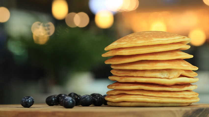 Delicious chocolate pancakes with berries how to make it stock stacking homemade pancakes and berry full hd hd stock footage clip ccuart Choice Image