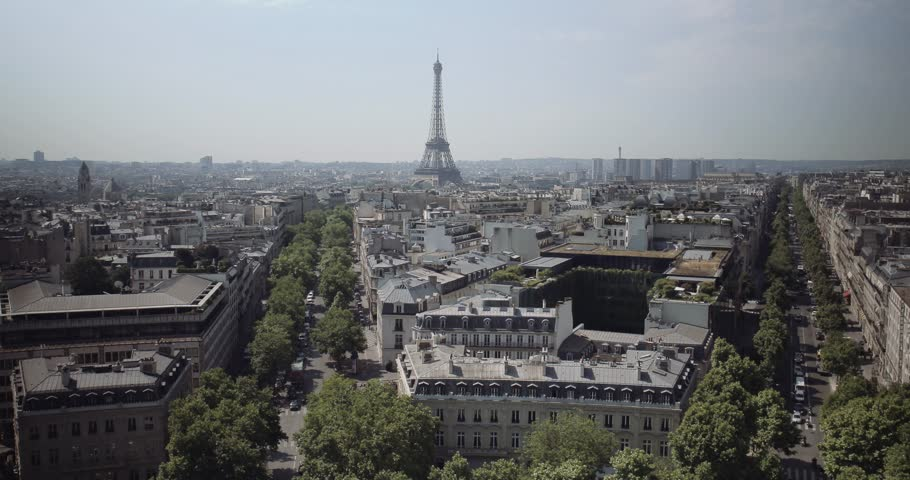 View over Paris with the Eiffel Tower | Shutterstock HD Video #10420181