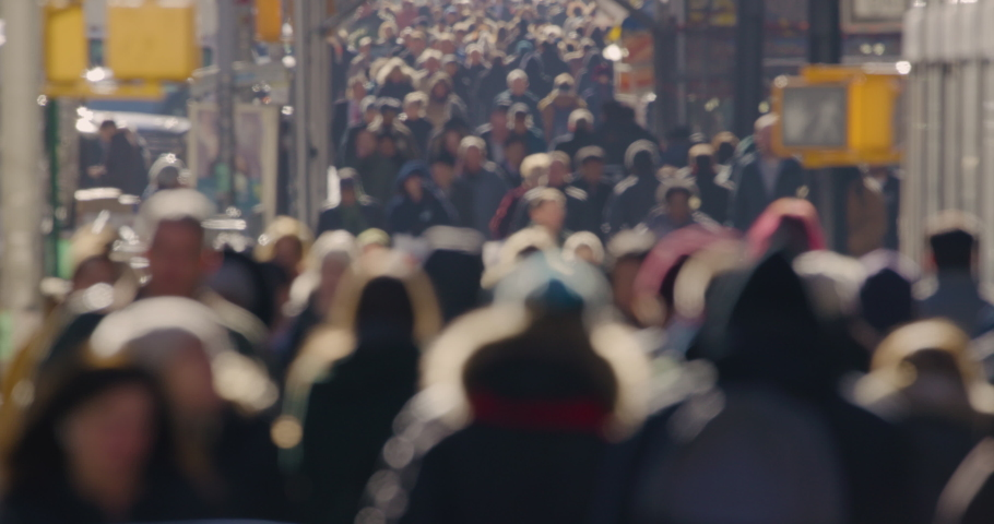 Crowd of people walking street slow motion | Shutterstock HD Video #1042263091
