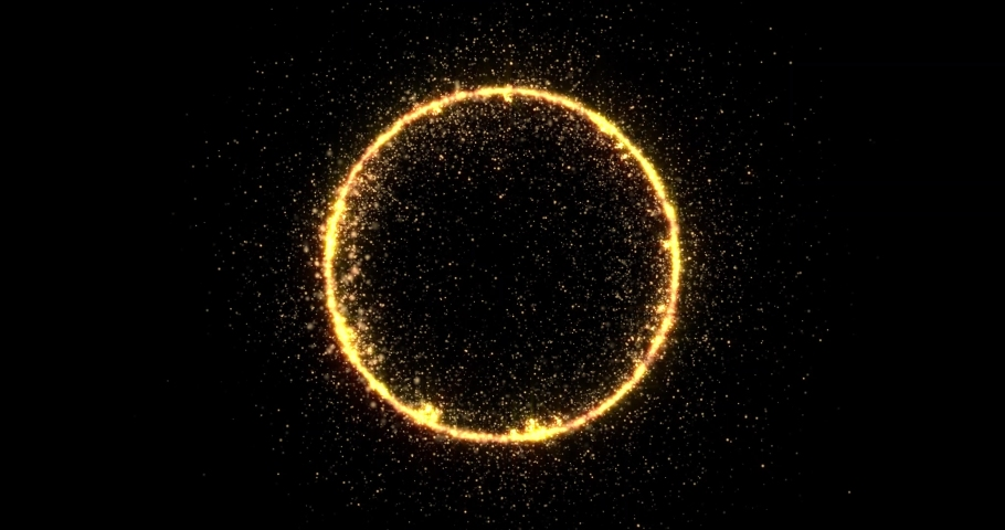 Golden glitter circle with sparkling light shine. Gold glittering ring, magic shimmer glow, bright light sparks with bokeh effect | Shutterstock HD Video #1042489231