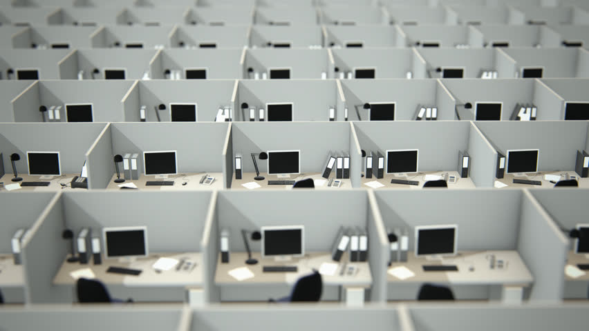 high angle view of cubicles with chairs and computers in office hd stock video