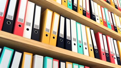 02306 Close-up Of Colorful File Binders On Shelf In Office