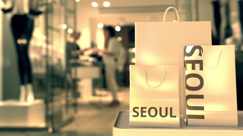Paper bags with Seoul text. Shopping in South korea related 3D animation | Shutterstock HD Video #1042690441