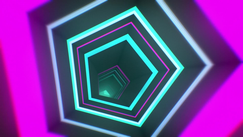 Glossy Looped Abstract Background. 3d pentagon corridor. Technological tunnel with pink and cyan neon lights | Shutterstock HD Video #1042788631