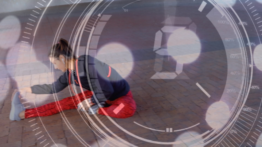 Animation of data and numbers processing and with a young woman stretching in an urban park in the background | Shutterstock HD Video #1042801921
