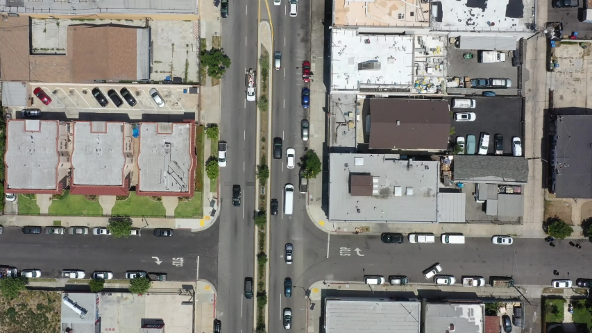 Aerial drone view flying above the streets of LA. | Shutterstock HD Video #1042803181