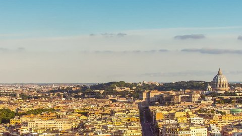 aerial view of rome skyline cityscape day to night time lapse at the from sunset to night city lighting up