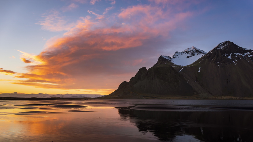 4K Time lapse of Vestrahorn mountain at sunset, Iceland  | Shutterstock HD Video #1044309061