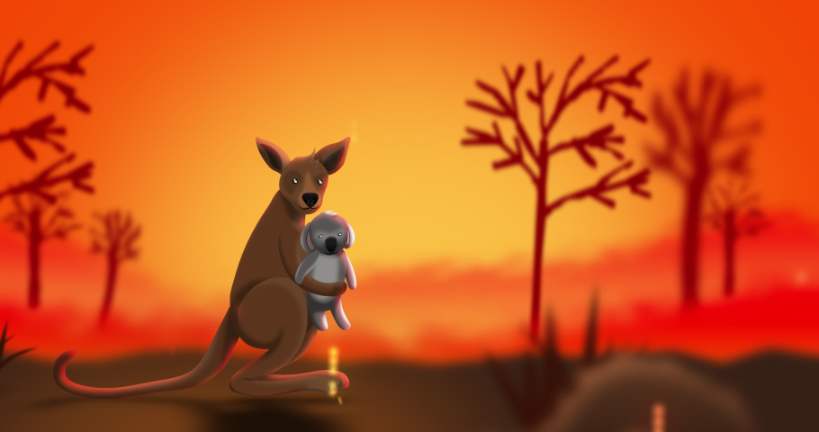 The kangaroo is carrying a cute small koala while jumping for escape bushfires, 2d animation looping concepts for pray for Australia. | Shutterstock HD Video #1044391351