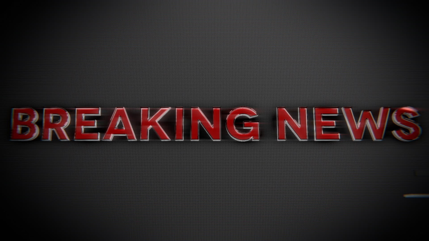 Breaking news text banner intro outro. Breaking news glass and chrome title reveal animation.    Shutterstock HD Video #1044477451