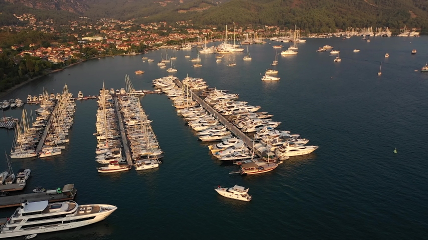 Marine of Gocek with full of yacht, Fethiye Turkey. | Shutterstock HD Video #1044496621