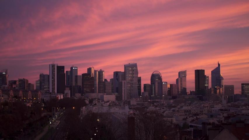 Sunrise on the Business Center of La Defense Paris  | Shutterstock HD Video #1044679651