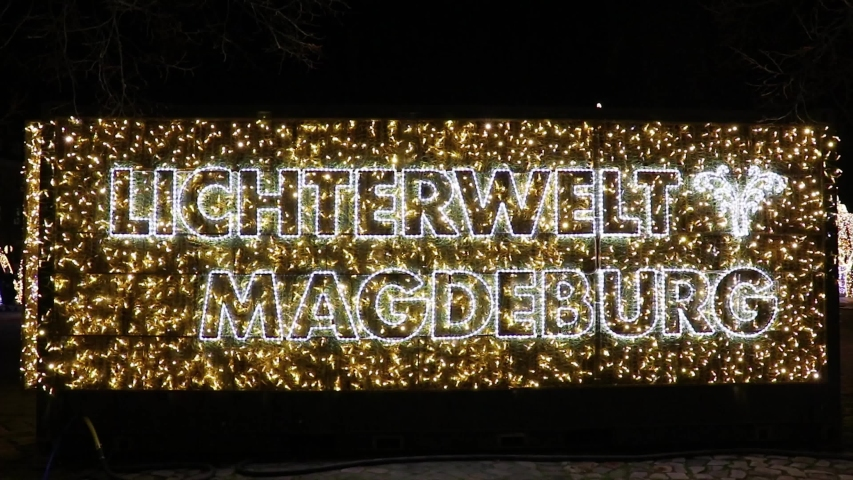 World of light magdeburg, banner with christmas lights, big letters   Shutterstock HD Video #1044731281