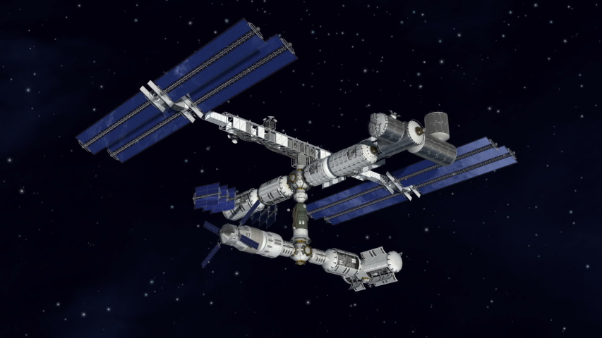 Satellite spacestation flying over earth with reflective solar panels and modular architecture   Shutterstock HD Video #1044853561
