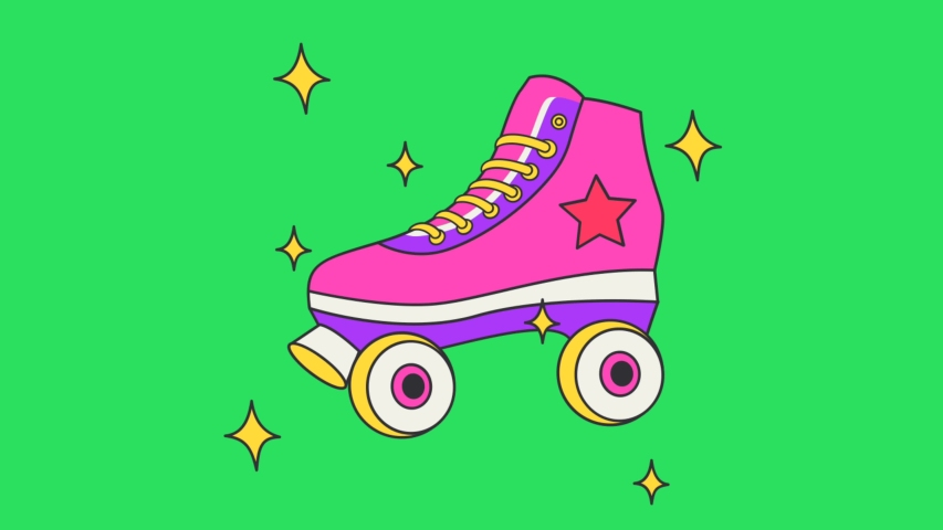 Animation pink skating shoes on green background. | Shutterstock HD Video #1044923011