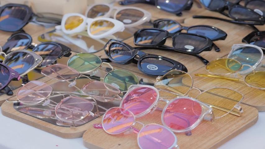 Vintage glasses displayed on the market   Shutterstock HD Video #1044954601
