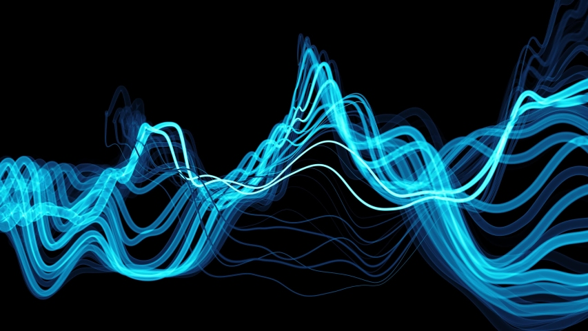 Blue 3d render of bright colorful 3d lines. Sound waves concept. Abstract background with deformed lines. Loopable animation. Depth of field.   Shutterstock HD Video #1044954991