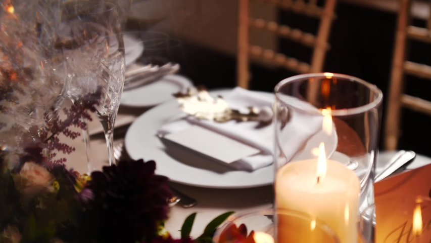 Beautiful Vintage Candle Light Wedding  Head Table Reception Details    Shutterstock HD Video #1044971311