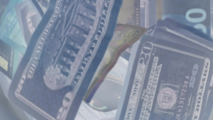 Financial market volatility analysis concept, dollar and euro banknotes slowly moving in x-rays. | Shutterstock HD Video #1044972451