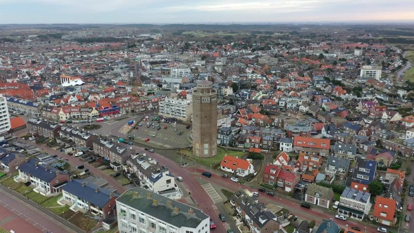 Zandvoort aerial drone 4k footage dutch beach holiday destination | Shutterstock HD Video #1045044271