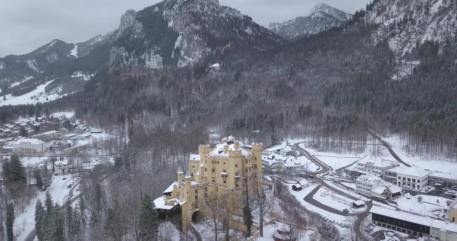 Aerial view of Hohenschwangau Castle 4k winter landscape. Germany | Shutterstock HD Video #1045193371