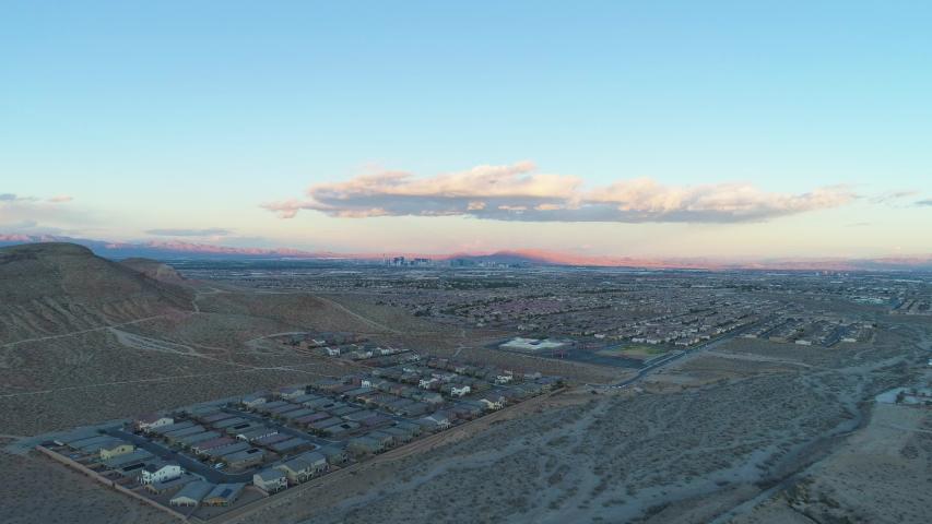 Las Vegas Cityscape. Nevada, USA. Aerial View. Drone Flies Backwards | Shutterstock HD Video #1045236121