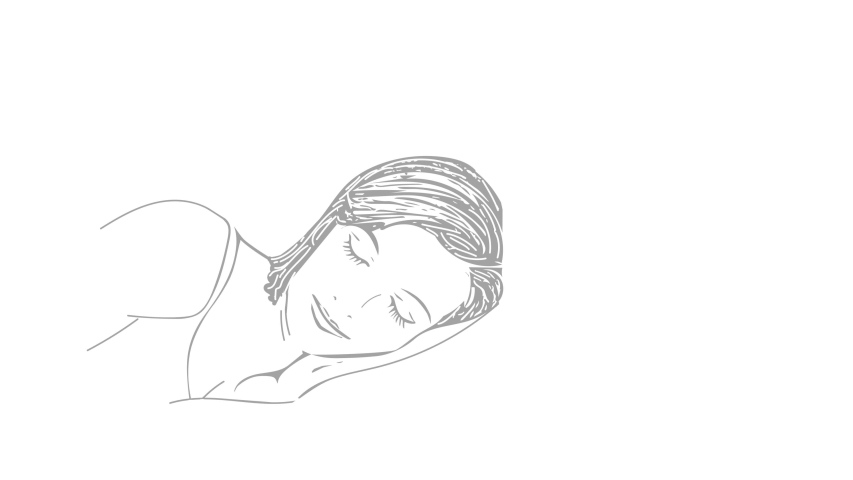 Self drawing sketch animation of sleeping woman, girl. Animation, line art, doodle, minimalism. Concept of healthy lifestyle. White foggy background. Copy space.   Shutterstock HD Video #1045333621