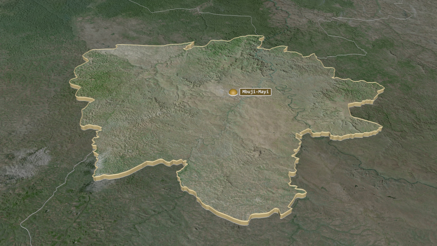 Kasaï-Oriental, province with its capital, zoomed and extruded on the satellite map of Congo Kinshasa in the conformal Stereographic projection | Shutterstock HD Video #1045352551