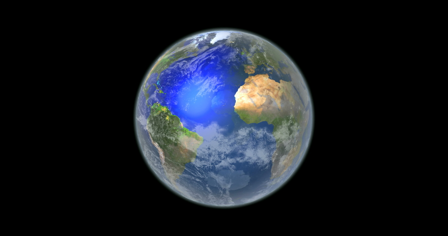 3D Earth zoom in to the continent of Europe on black background  | Shutterstock HD Video #1045432981