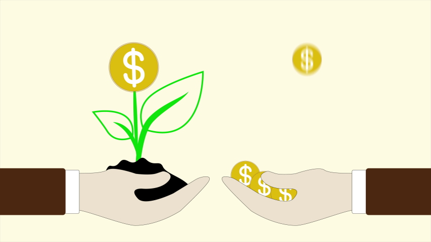 Animation hand holding with money tree and coins dollar falling | Shutterstock HD Video #1045525921