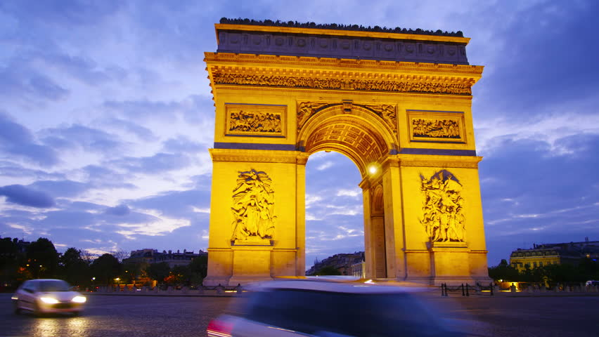 Paris, France, Arch of triumph and Champs Elysees at night, time-lapse in motion, hyperlapse.  | Shutterstock HD Video #10461161