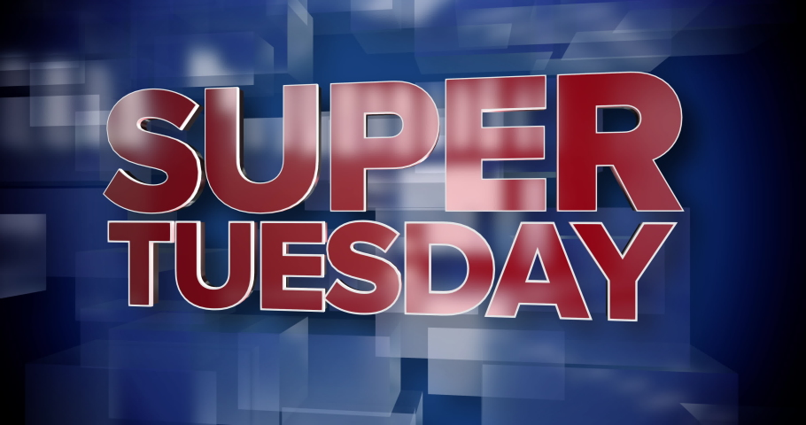 A red and blue dynamic 3D Super Tuesday title page animation.   | Shutterstock HD Video #1046333431